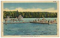 1954 Postcard Greetings Findley Lake New York Curt Teich Co. Swimming Canoe