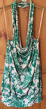 FULL CIRCLE Green and ivory patterned Dress by- 14, Haltneck, low back, New