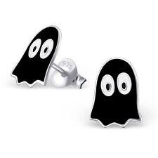 BLACK GHOST EARRINGS - 925 Sterling Silver POST STUD Earrings Ghoul Halloween