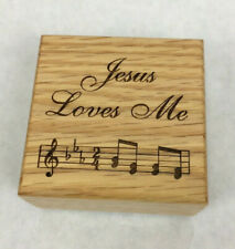 "Small Wooden Music Box ""Jesus Loves Me"" 2 3/4"" x 2 3/4"" Plays Excellent"