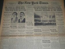 1929 MARCH 4 NEW YORK TIMES - HOOVER'S INAUGURATION TODAY - NT 7111