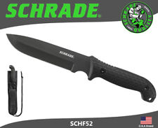 Schrade Frontier Fixed Knife Full Tang 1095 Carbon TPE Handle Sheath SCHF52