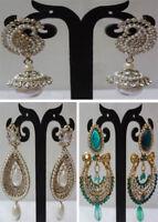 Earrings South Indian Bollywood Designer CZ Jhumki Jhumka Drop Dangler Set