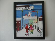 SNOW ON THE STEPS AT WHITBY FRAMED OIL PAINTING