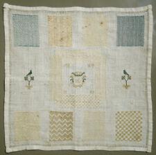 1809 LOVELY ANTIQUE DUTCH DARNING MENDING SAMPLER NEEDLEWORK SILK ON LINEN