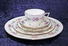 MINTON S-707 MELBURY GOLD BAND 5 PIECE PLACE SETTING BLUE PINK ROSE GREEN FLOWER