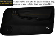 YELLOW STITCH 2X FULL DOOR CARD LEATHER COVER FITS NISSAN S13 200SX 180SX 88-93