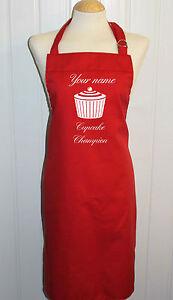 Personalised medium Red Apron ** Cupcake / Baking Designs ** Made in the UK