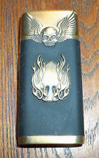 ELECTRONIC BUTANE JET TURBO TORCH WINDPROOF LIGHTER SKULLS AND FLAMING SPADE