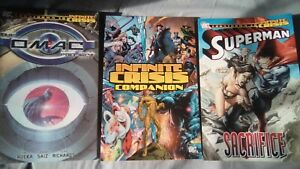 3 x INFINITE CRISIS TIE-IN DC COMICS GRAPHIC NOVELS - Companion, Omac, Superman