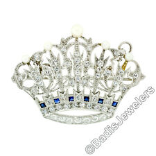 Antique Art Deco Platinum 1.43ctw Diamond & Pearl Crown Tiara Brooch or Pendant