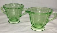 Federal MADRID GREEN * FOOTED CREAMER & SUGAR*