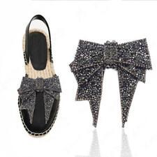 Vintage Glass Stone Rhinestone Bow Wedding High-heel Sandals Round Shoes Pro