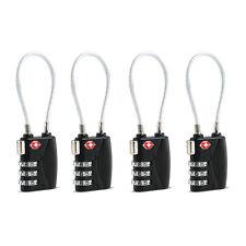 4pcs TSA Approved Travel Luggage Suitcase Cable Lock 3-Digit Password Padlock