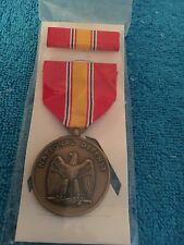 "U S MILITARY MEDAL with Ribbon   ""NATIONAL DEFENSE"""