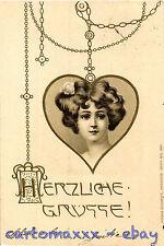 Art Nouveau - Beautiful Woman - Gruss - Rilievo Embossed - L012