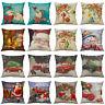 18''Christmas Pillow Case Santa Cotton Linen Sofa Throw Cushion Cover Home Decor