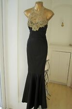 Lipsy VIP BNWT Size 4 6 Black Gold Lace ASOS Bodycon Mermaid Fishtail Maxi Dress