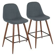 OPEN BOX Pebble Mid-Century Modern Counter Stools in Walnut & Blue (Set of 2)