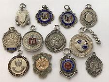 Twelve Sterling Silver Fob Medals