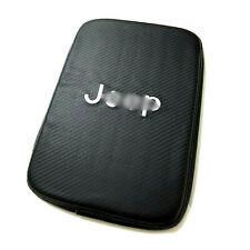 Black Carbon Fiber JEEP Logo Car Center Console Armrest Cushion Mat Pad Cover