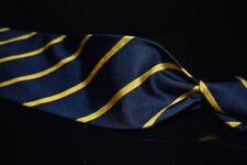 ESSENTIAL Polo Ralph Lauren Navy Ribbed Twill Gold Single Repp Stripe Silk Tie
