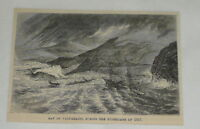 1876 magazine engraving ~ HURRICANE IN BAY OF VALPARAISO Chile