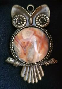 AGATE OWL PENDANT NECKLACE CRAZY LACE AGATE HANDMADE  in Australia 55mm x 35mm