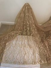 "GOLD MESH W/EMBROIDERY SEQUIN LACE FABRIC 52"" WIDE 1 YARD"