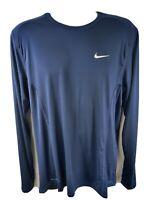 Nike Running Dry-Fit Men's Long Sleeve T-Shirt Navy Blue Size Large Thumb Holes