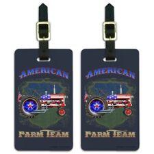 Farm Tractor American Team USA Flag Farming Luggage ID Tags Cards Set of 2