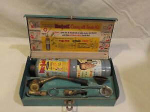 Vintage BernzOMatic TX-25 Propane Torch Kit Case & Attachments Metal box