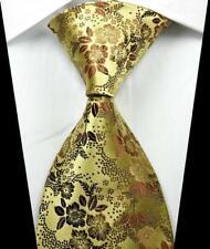 Hot Classic Floral Gold Brown Coffee  JACQUARD WOVEN 100% Silk Men's Tie Necktie