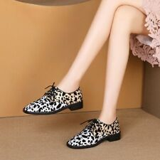Womens Ladies New Fashion Leather Animal Printed Brogue Oxford Lace Up Shoes SGS