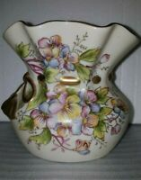 Vintage Ucagco Porcelain  Hand Painted Vase with Flowers and Bow