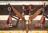 Western Brown Leather Hand Carved set of  Breast Collar /2 Nose band /2 Headstal