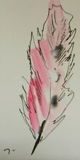 "JOSE TRUJILLO ORIGINAL Watercolor Painting SIGNED Small 3x6"" Pink Feather Bird"