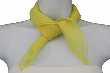 Women Fashion Neck Scarf Yellow Small Soft Fabric Square Pocket Color Sheer Size