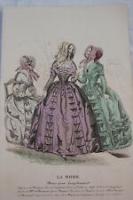 GRAVURE COULEURS LA MODE-OLD FASHION PRINT XIXe SIECLE COSTUME MD111