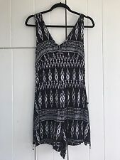 H&M Black And Purple Aztec Fitted Playsuit Size 10