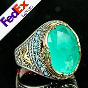 Turkish Handmade 925 Sterling Silver Green Tourmaline Stone Mens Ring All Sizes
