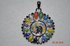 Snap button FLOWER gem Pendant & BEAR snap button charm/silverplated/18-19MM