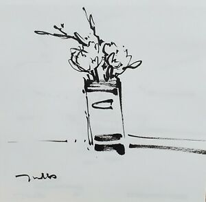 JOSE TRUJILLO - Expressionism Pen Ink Paper 6x6  Abstract STILL LIFE FLORAL 14