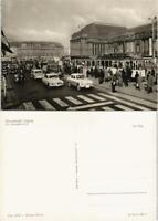 Ansichtskarte Leipzig Hauptbahnhof - Straße - Wartburg, Straßenbahn 1957