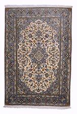 Handgeknüpfter Perser Teppich Kashan 168 x 112 cm in Beige & Graue Bordüre
