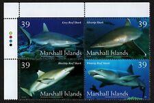 MARSHALL ISLANDS, SCOTT # 883, PLATE BLOCK OF 4 TYPES OF SHARKS, YEAR 2006, MNH