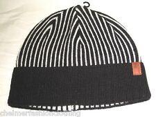 BNWT   BEN SHERMAN Striped Beanie Hat  Black White