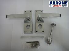 ARRONE VICTORIAN STRAIGHT LEVER LOCKABLE BATHROOM / PRIVACY HANDLES SATIN CHROME