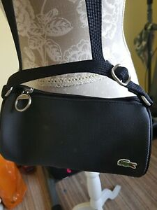 Designer black leather cross body bag lacoste