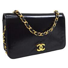 CHANEL CC Single Chain Shoulder Bag Purse Black Patent Leather 221099 31440